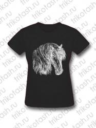 Футболка женская Конь на черном