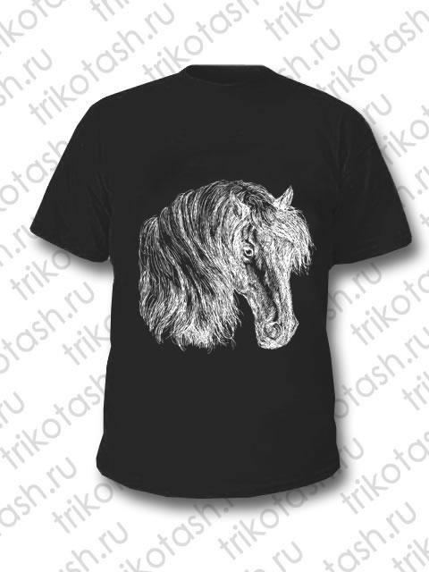 Футболка мужская Конь на черном