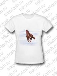 Футболка женская Конь на белом