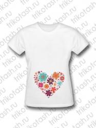 Футболка женская Сердце цветы полностью (для беременных)
