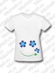 Футболка женская Цветочный смайл синий (для беременных)
