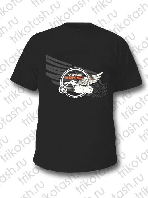 Футболка мужская Vintage Motors Крыло чёрная