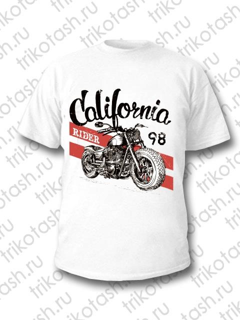 Футболка мужская California rider 98 белая