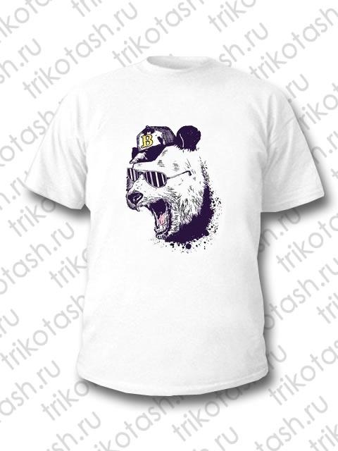 Футболка мужская Медведь в кепке белый